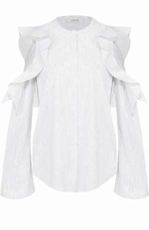 Блуза прямого кроя с оборками и открытыми плечами Dorothee Schumacher. Цвет: черно-белый