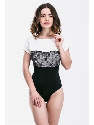 Блузка-боди Gracija-Rim. Цвет: черный, молочный