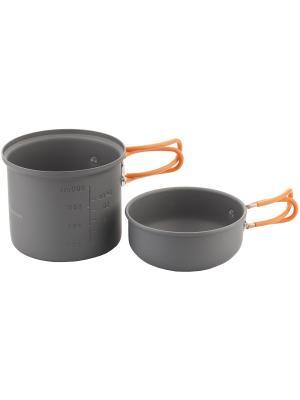 Набор посуды для приготовления OUTVENTURE. Цвет: серый, оранжевый