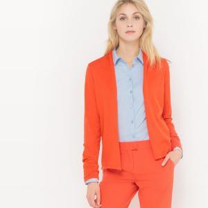 Кардиган короткий однотонный с длинными рукавами R édition. Цвет: оранжево-красный
