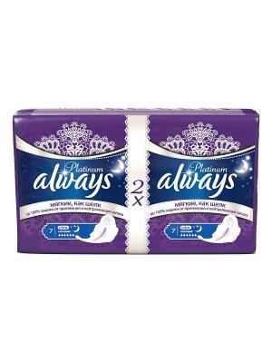Женские гигиенические прокладки Platinum Collection Night Duo 14шт Always. Цвет: синий