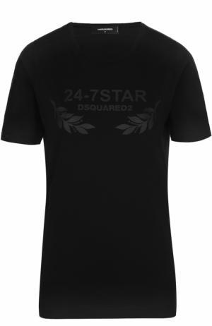 Хлопковая футболка прямого кроя с круглым вырезом Dsquared2. Цвет: черный