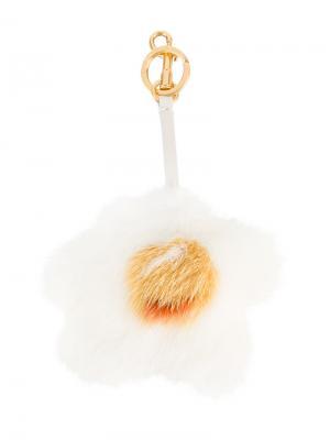 Пушистый шарм в форме яйца Anya Hindmarch. Цвет: белый
