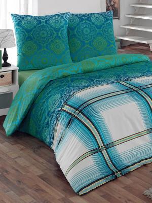 Комплект постельного белья Эффект Тет-а-Тет. Цвет: зеленый, бирюзовый
