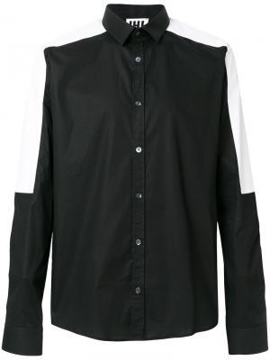 Рубашка с контрастными панелями Les Hommes Urban. Цвет: чёрный