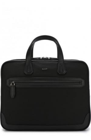 Текстильная сумка для ноутбука с плечевым ремнем Bally. Цвет: черный