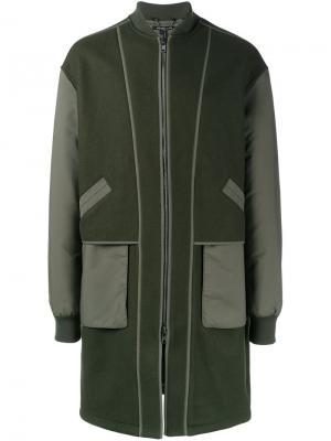 Пальто на молнии с контрастными рукавами Helmut Lang. Цвет: зелёный