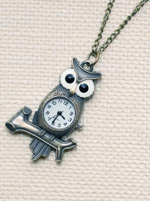 Кулон-часы Сова на ветке Mitya Veselkov. Цвет: бронзовый