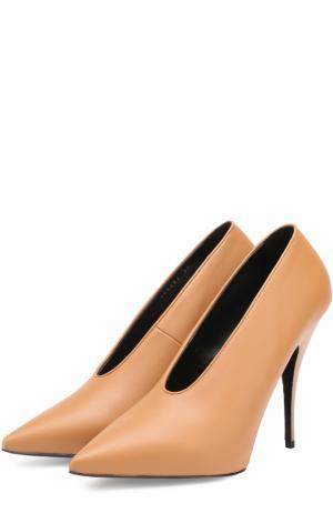 Туфли из эко-кожи с неглубоким вырезом на шпильке Stella McCartney. Цвет: коричневый