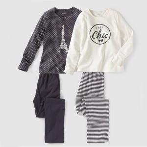 2 пижамы из джерси с рисунком, 100% хлопка, 10-16 лет R édition. Цвет: экрю/серый