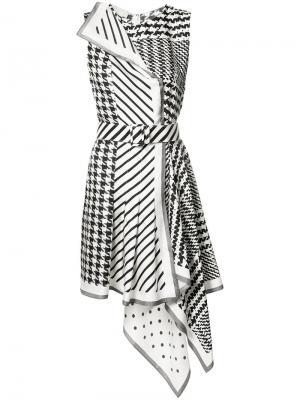 Асимметричное платье в ломаную клетку Monse. Цвет: чёрный
