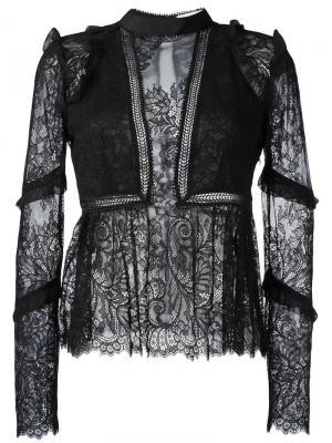 Блузка с кружевом Self-Portrait. Цвет: чёрный