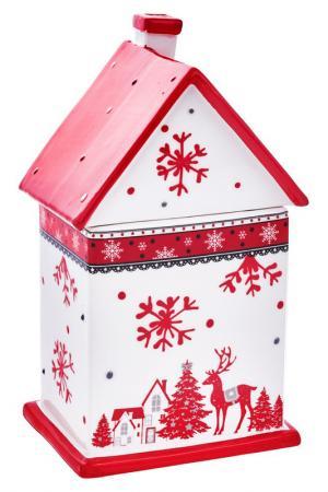 Вазочка с крышкой DUE ESSE CHRISTMAS. Цвет: красный, белый