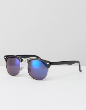Jeepers Peepers Солнцезащитные очки в стиле ретро. Цвет: черный