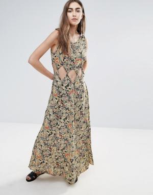 Raga Платье макси с вырезом Nocturnal Affair. Цвет: мульти