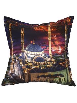 Подушка декоративная, атлас, принт Мечеть Сердце Чечни Dorothy's Нome. Цвет: красный, черный, синий