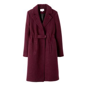 Пальто с ремешком и эластичным поясом CARVEN. Цвет: бордовый