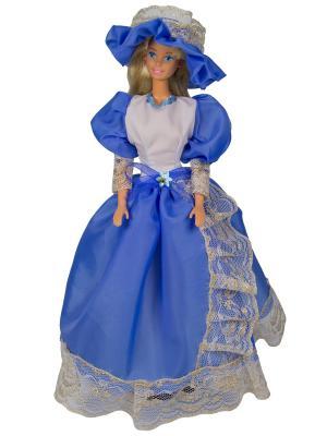 Бальное платье  из шелка со шляпкой для куклы 29 см Модница.. Цвет: голубой