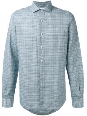 Рубашка в клетку Boglioli. Цвет: синий