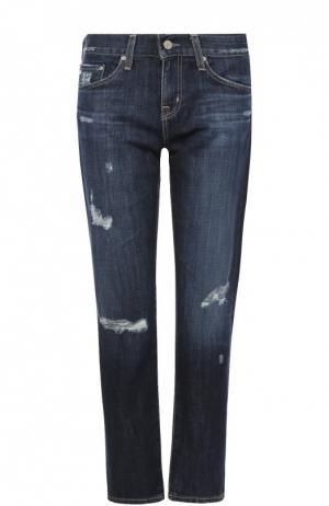 Укороченные джинсы прямого кроя с декоративными потертостями Ag. Цвет: темно-синий