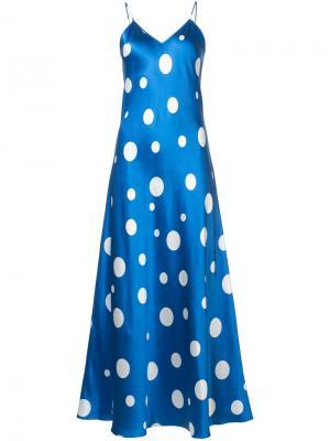 Платье-комбинация с рисунком в горох Racil. Цвет: синий