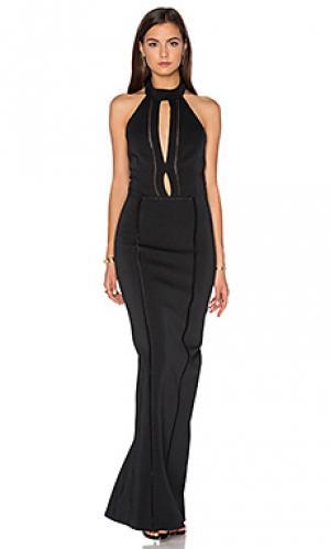Вечернее платье с вырезом на деклльте NICHOLAS. Цвет: черный
