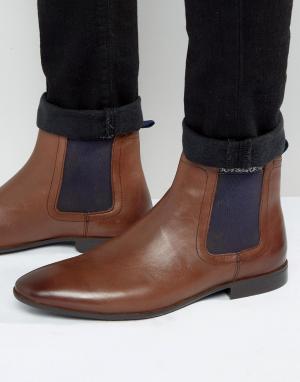 ASOS Коричневые кожаные ботинки челси. Цвет: коричневый