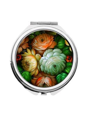 Зеркальце карманное Роспись в зеленых тонах Chocopony. Цвет: зеленый, светло-оранжевый