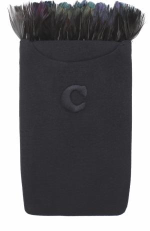 Шерстяной платок с перьевой отделкой Caruso. Цвет: черный