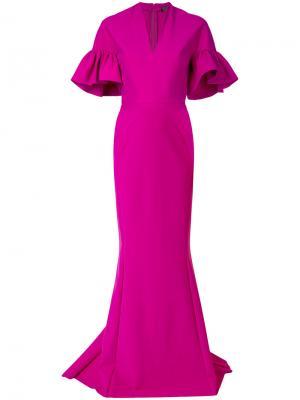 Вечернее платье с пышными рукавами Greta Constantine. Цвет: розовый и фиолетовый