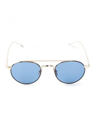 Солнцезащитные очки в круглой оправе Thom Browne. Цвет: металлический