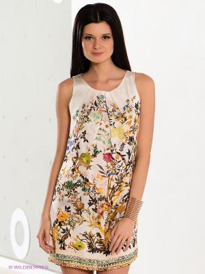 Платье COMPAGNIA ITALIANA. Цвет: молочный, желтый, зеленый