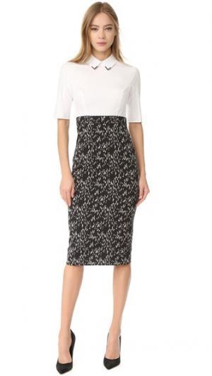 Приталенное платье-футляр Lela Rose. Цвет: черный/цвет слоновой кости