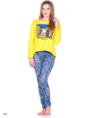 Комплект домашней одежды ( кофта, брюки) HomeLike. Цвет: синий, желтый