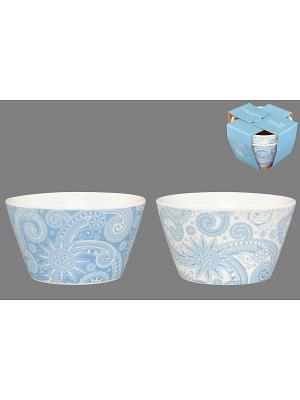 Набор салатников  Узор бело- голубой Elan Gallery. Цвет: голубой, белый