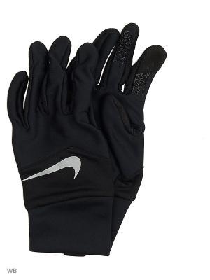 Мужские перчатки для бега Nike. Цвет: черный, серебристый