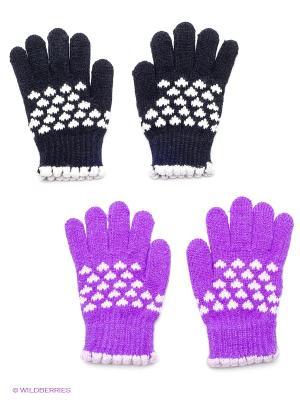 Перчатки, 2 пары FOMAS. Цвет: фиолетовый, черный, синий