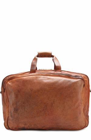 Кожаная дорожная сумка с плечевым ремнем Numero 10. Цвет: коричневый