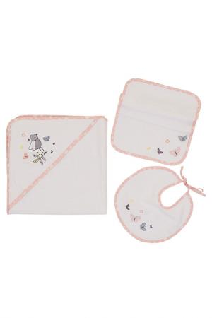 Комплект детских полотенец, 3 шт. Marie claire. Цвет: white, pink