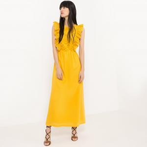Платье длинное из двух материалов La Redoute Collections. Цвет: желтый,слоновая кость