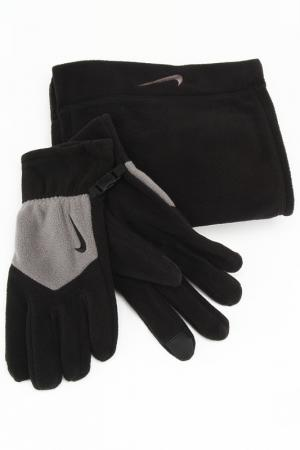Перчатки флисовые Nike. Цвет: черный, серый