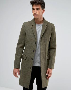Jack Wills Темно-зеленое пальто. Цвет: зеленый