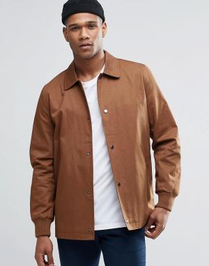 ASOS Светло-коричневая спортивная куртка из хлопка. Цвет: рыжий