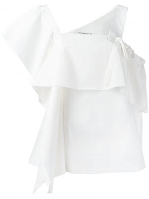 Блузка с оборкой и асимметричными рукавами Dorothee Schumacher. Цвет: белый