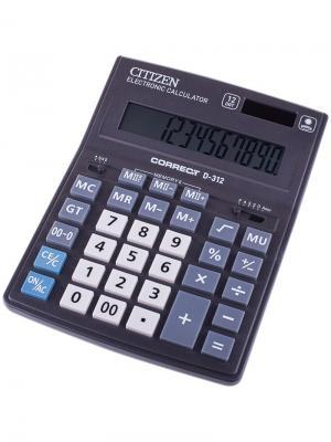 Калькулятор настольный Correct D 12 разрядов, двойное питание, 155*205*28 мм, черный CITIZEN. Цвет: черный