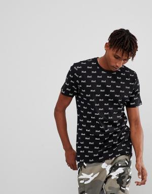 HUF Черная футболка с принтом логотипа. Цвет: черный