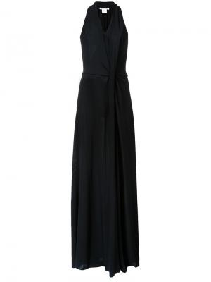 Платье в пол со сборкой спереди Bianca Spender. Цвет: чёрный
