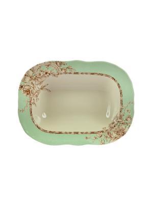 Салатница Очарование Elff Ceramics. Цвет: зеленый, красный, белый