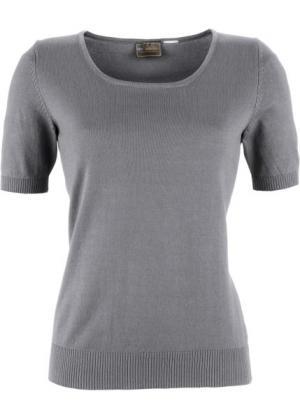 Пуловер с коротким рукавом (серый меланж) bonprix. Цвет: серый меланж