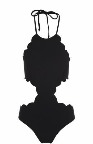 Слитный купальник с фестонами и открытой спиной Marysia. Цвет: черный
